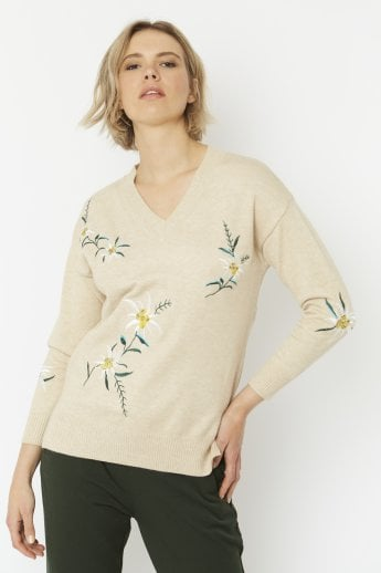 Cashmere Blend Embroidery Knit Jumper