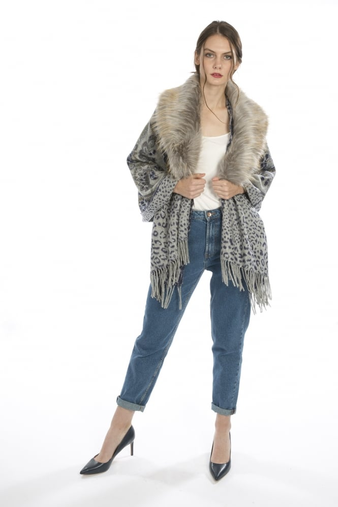 JAYLEY Animal Print Cashmere Wrap with Faux Fur Collar