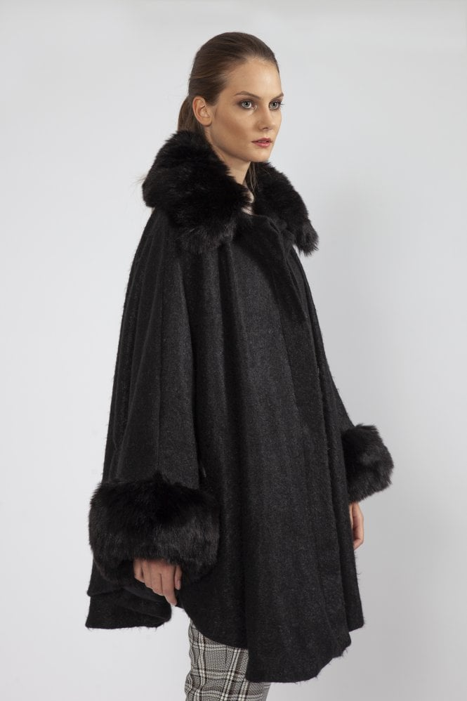 JAYLEY Belted Cashmere Blend Faux Fur Cape