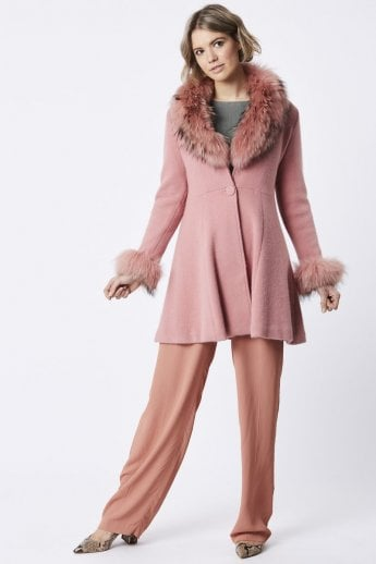Candy Pink Winter Coat with Fox Finish