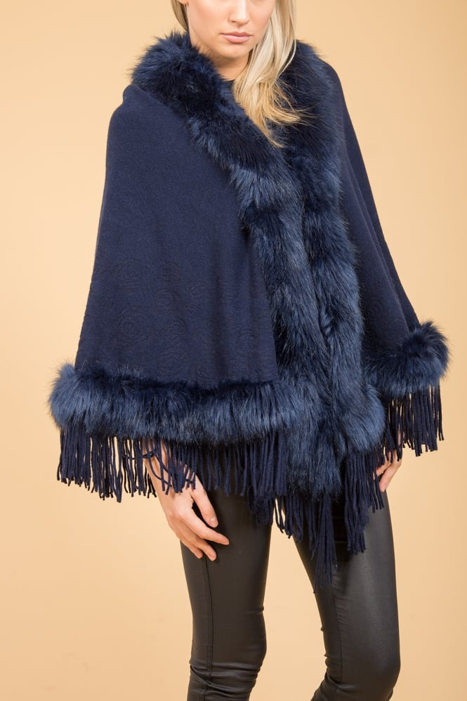 JAYLEY Cape with Faux Fur Finish