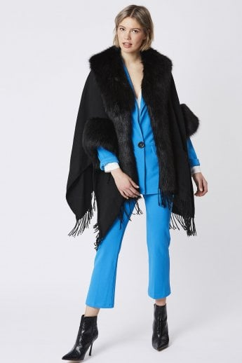 Cashmere and Faux Fur Coat