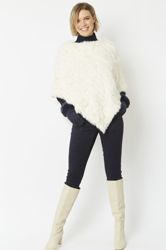 JAYLEY Cashmere Blend Coney Fur Poncho