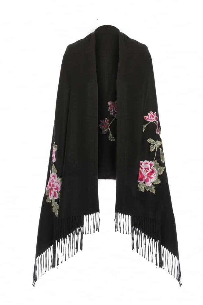 JAYLEY Cashmere Blend Embroidery Wrap