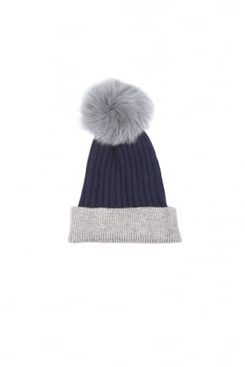 Cashmere Blend Fox Fur Pom Pom Hat