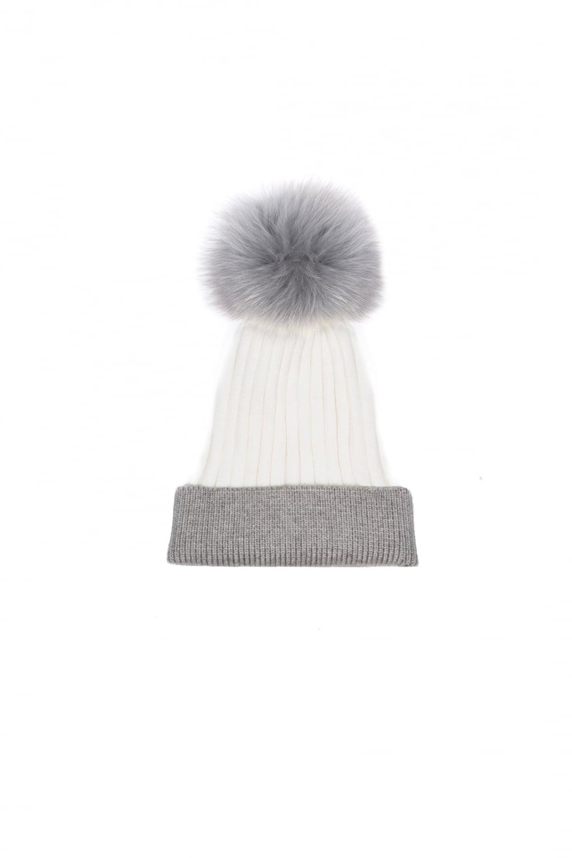 ac1f67765d4 Cashmere Blend Fox Fur Pom Pom Hat