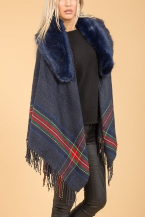 JAYLEY Cashmere Blend Wrap with Faux Fur Collar