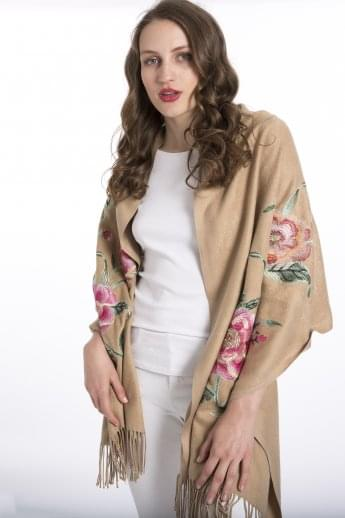 Cashmere Blended Embroidery Wrap