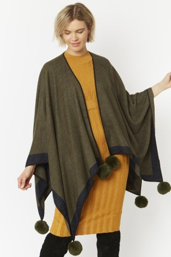 Cashmere Cape with Faux Fur Poms