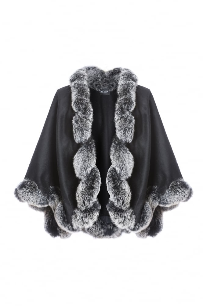 JAYLEY Cashmere Cape with Fox Finish