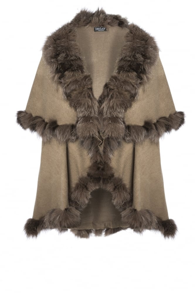JAYLEY Cashmere Cape with Fur