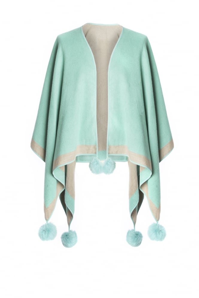JAYLEY Cashmere Cape with Pom Fur