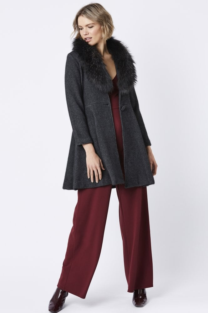 JAYLEY Cashmere Coat with Fur Collar
