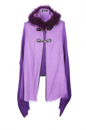 JAYLEY Cashmere Fox Fur Hooded Cape