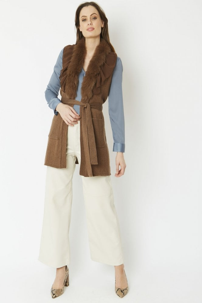 JAYLEY Cashmere Gilet With Feature Collar