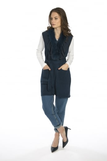 Cashmere Gilet With Feature Collar