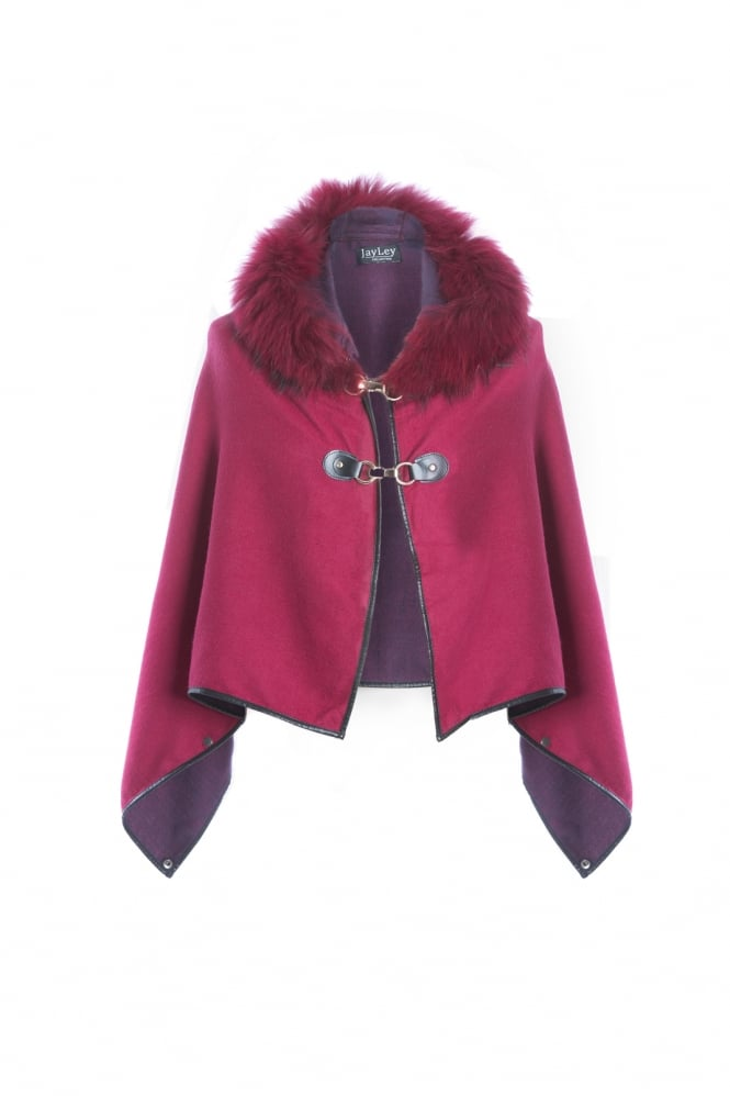 JAYLEY Cashmere Hooded Cape with Fur Finish