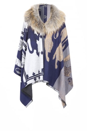 Cashmere Patterned Wrap with Faux Fur Collar