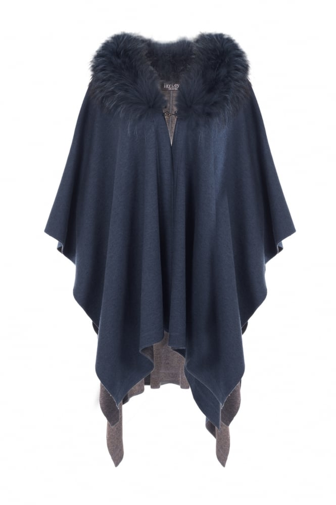 JAYLEY Cashmere Poncho with Fur Collar