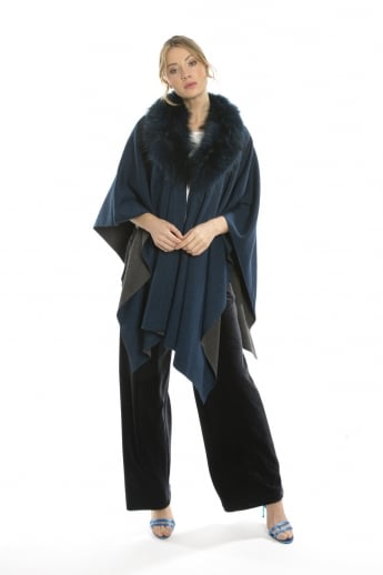 Cashmere Poncho with Fur Collar