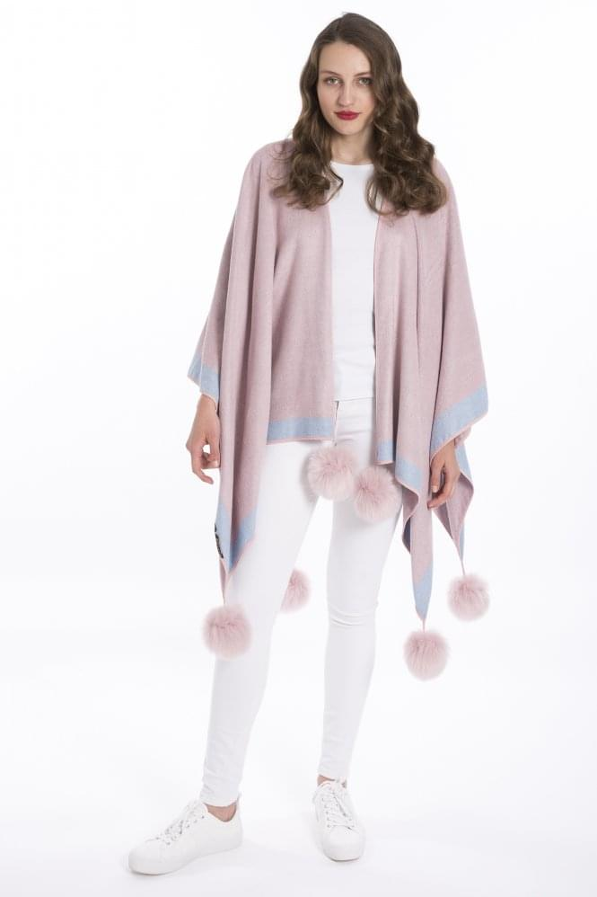JAYLEY Cashmere Wrap Cape with Faux Fur Poms