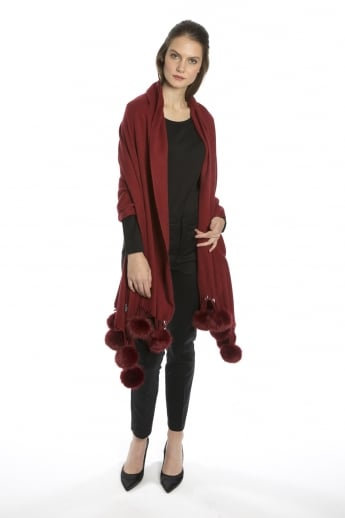Cashmere Wrap with Faux Poms