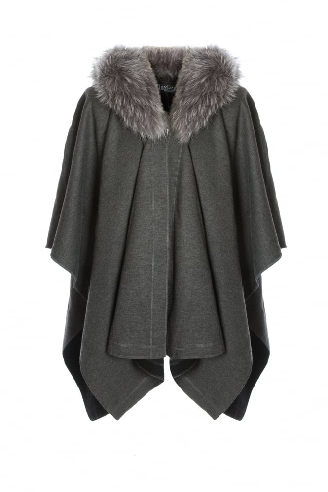 JAYLEY Cashmere Wrap with Fox Fur Collar