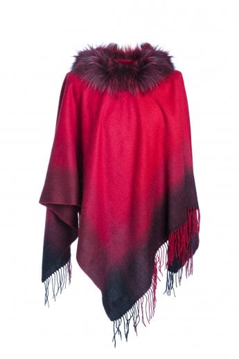 Cashmere Wrap with Fur Finish