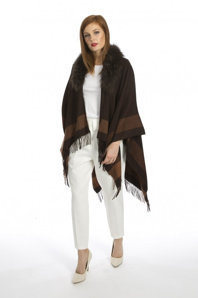 JAYLEY Cashmere Wrap with Fur