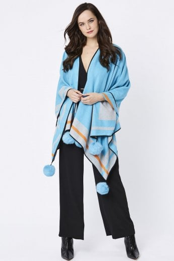 Cashmere Wrap with Pom Pom finish