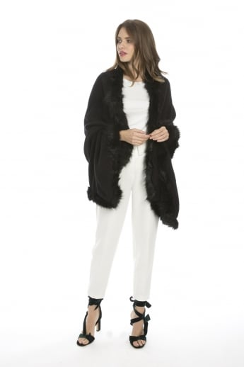 Cashmere Wrap with Statement Faux Fur