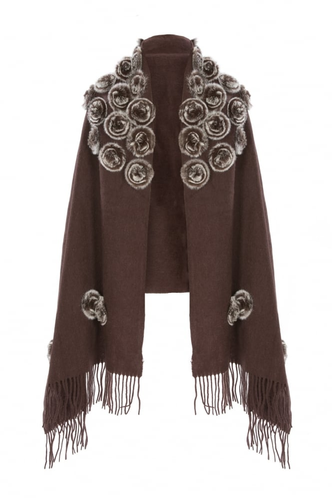 JAYLEY Coney Fur and Wool Wrap