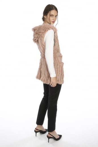 Coney Fur Hooded Long Gilet