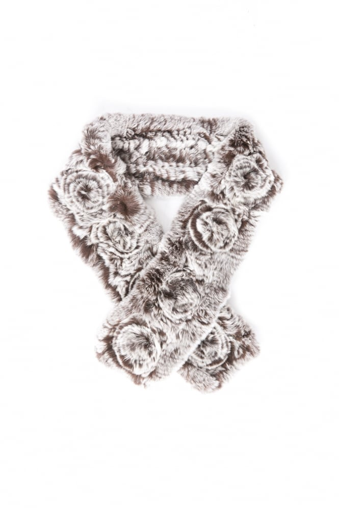 JAYLEY Coney Fur Scarf with Roses