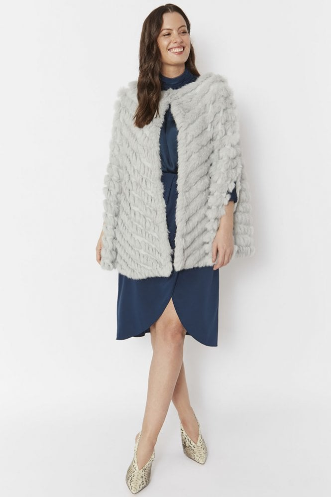 JAYLEY Coney Fur Suedette Cape