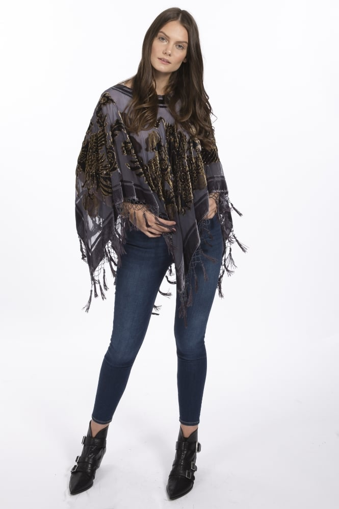 JAYLEY Devore Tasseled Poncho