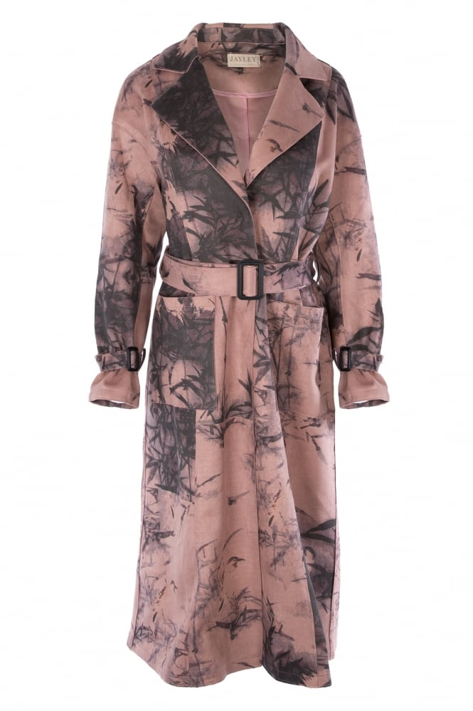 JAYLEY Digital Print Faux Suede Trench Coat