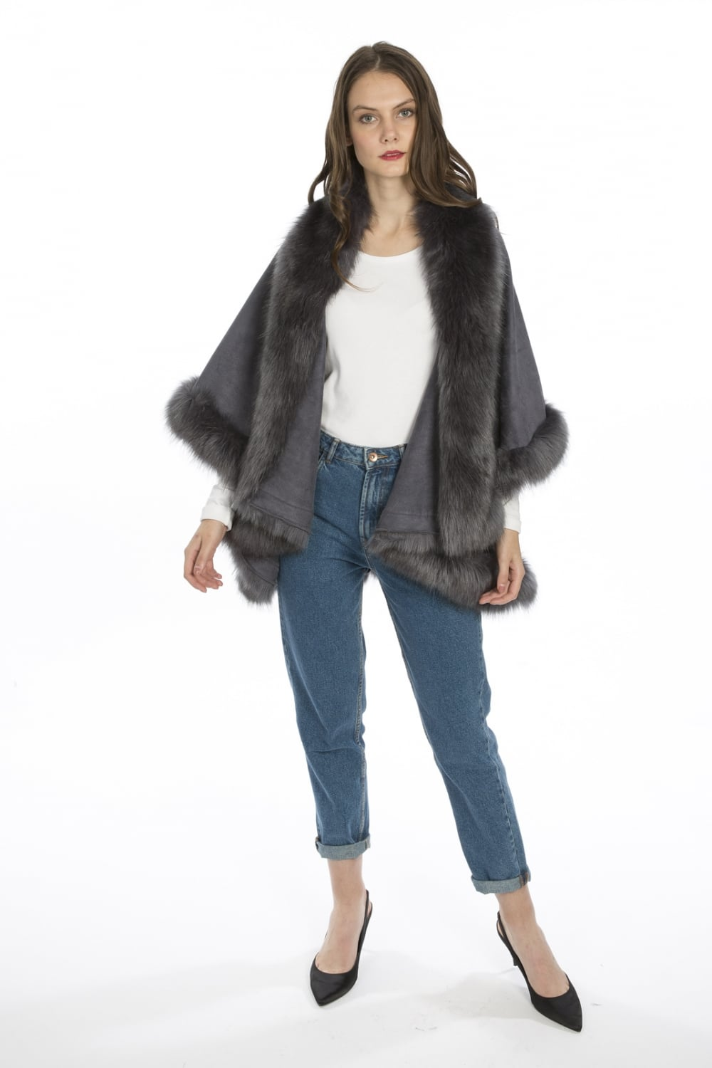 Fur Faux Suede Cape Coat