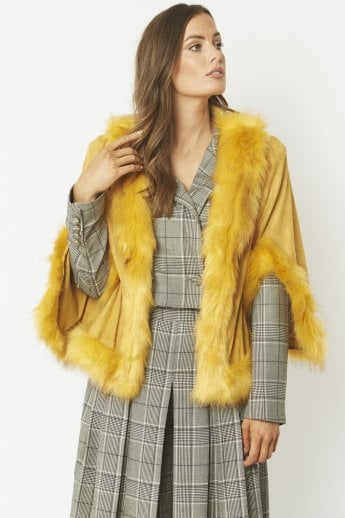 Faux Fur Faux Suede Cape Jacket