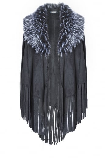 Faux Fur Faux Suede Cape