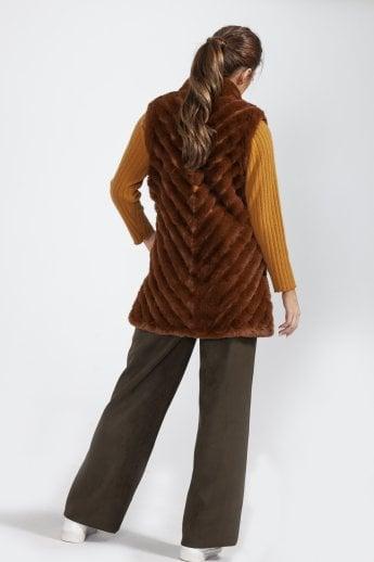 d5609f95031a Faux Fur Faux Suede Diagonal Striped Long Gilet