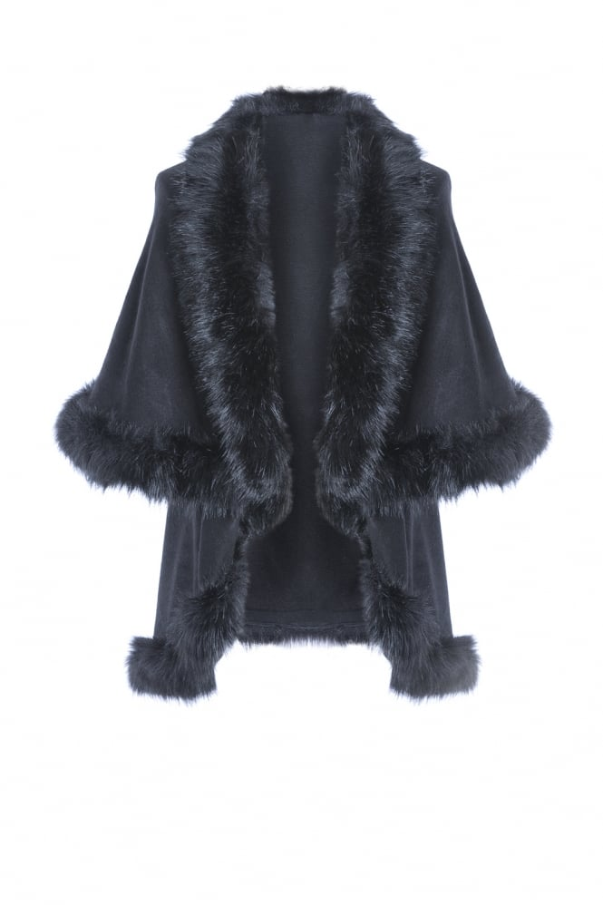 JAYLEY Faux Fur Knit Cape