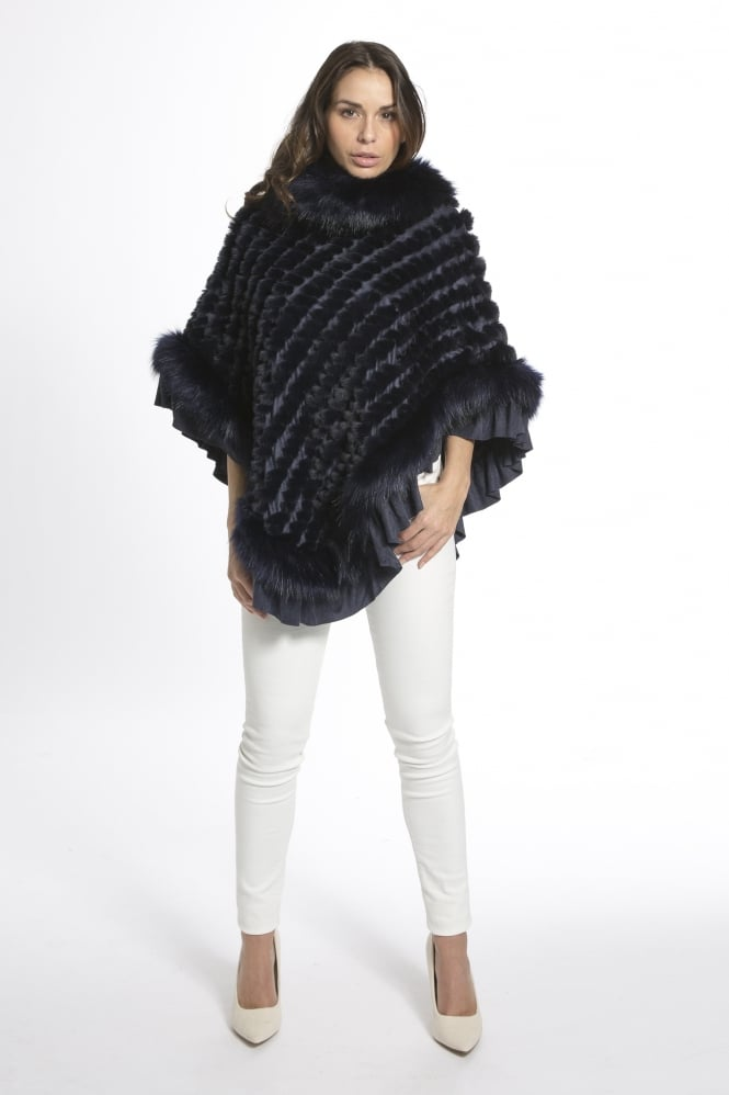JAYLEY Faux Fur Knitted Faux Suede Poncho