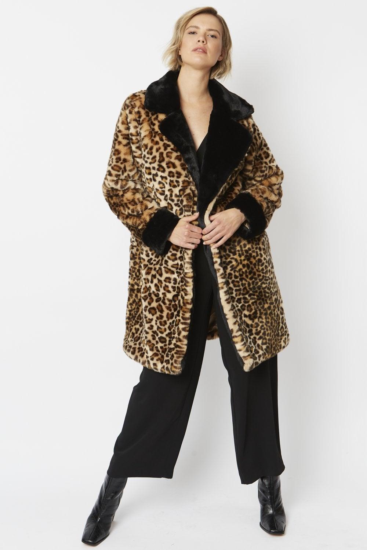JAYLEY Faux Fur Leopard Print Midi Coat