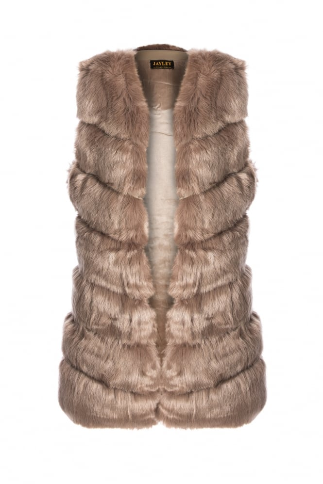 JAYLEY Faux Fur Long Gilet