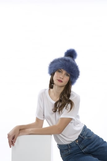 Faux Fur Pom Pom Hand Knit Hat