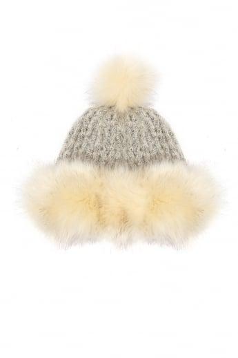 8f7b416337f Faux Fur Pom Pom Hand Knit Hat