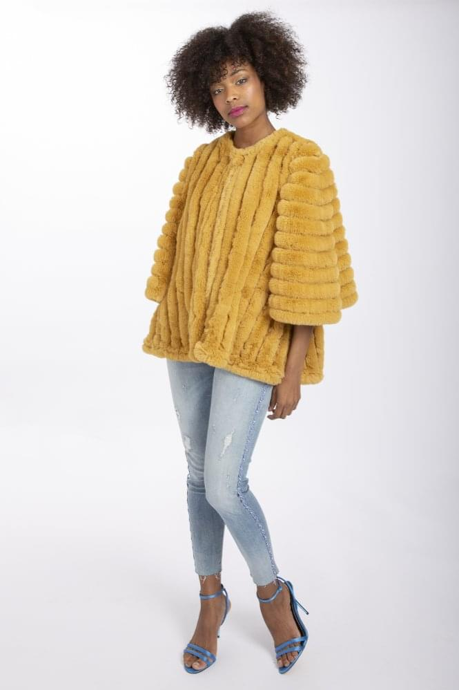 JAYLEY Faux Fur Striped Coat