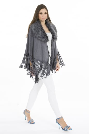 Faux Fur Suedette Cape