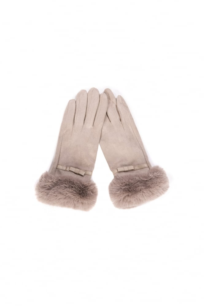 JAYLEY Faux Fur Trim Faux Suede Gloves